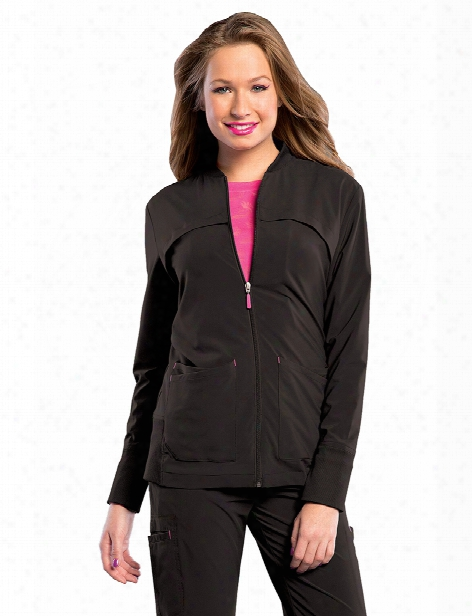 Smitten Tour Zip Front Warm-up Scrub Jacket - Black - Female - Women's Scrubs