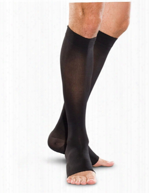 Therafirm 30-40 Mmhg Unisex Open Toe Compression Knee Highs - Black - Unisex - Women's Scrubs