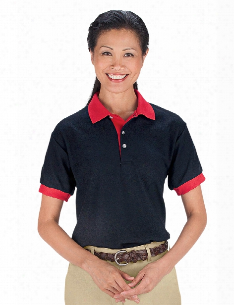 Usa Made Contrast Trim Unisex Sport Polo Shirt - Black-red - Unisex - Corporate Apparel