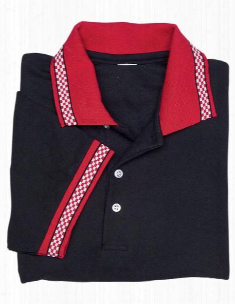 Usa Made Unisex Checkered Collar Pique Polo - Black-red - Unisex - Corporate Apparel