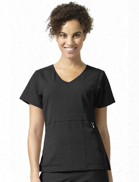 Vera Bradley Halo Frida Empire Waist Scrub Top - Black - Female - Women's Scrubs