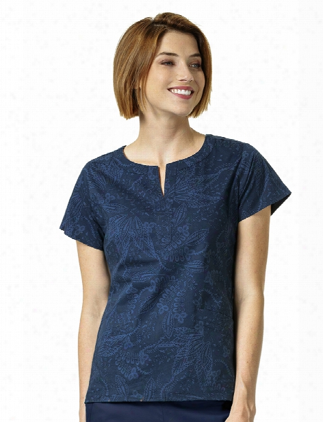 Vera Bradley Signature Batik Leaves Tonal Scrub Top - Print - Female - Women's Scrubs