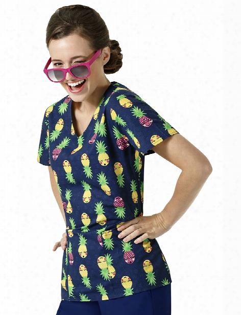 Zoe + Chloe Good Vibes Only Scrub Top - Print - Female - Women's Scrubs