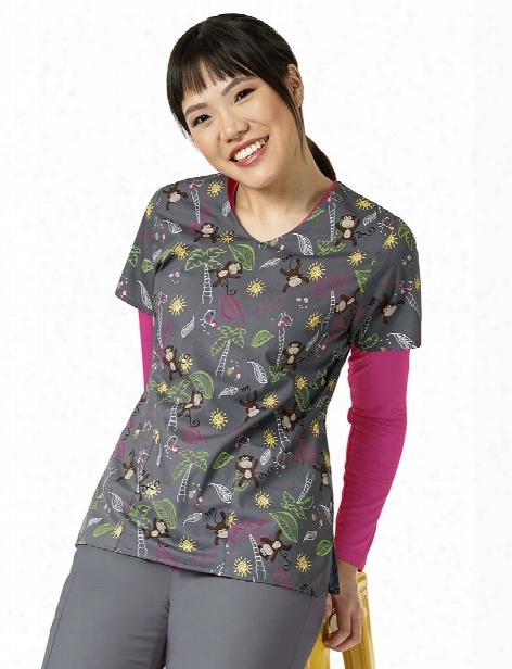 Zoe + Chloe Monkey Shine Scrub Top - Print - Female - Women's Scrubs