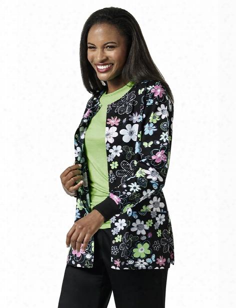 Zoe + Chloe Spring Field Black Warm Up Jacket - Print - Female - Women's Scrubs