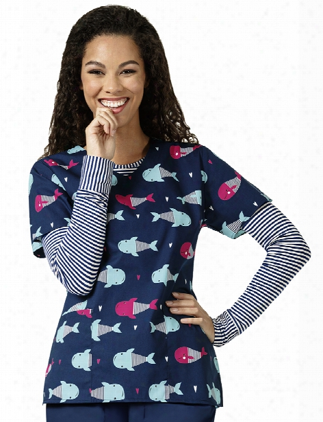 Zoe + Chloe Whale Of A Time Scrub Top - Print - Female - Women's Scrubs