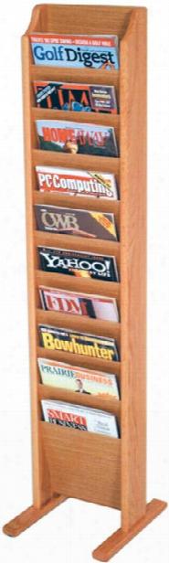 10 Pocket Oak Magazine Floor Rack By Wooden Mallet