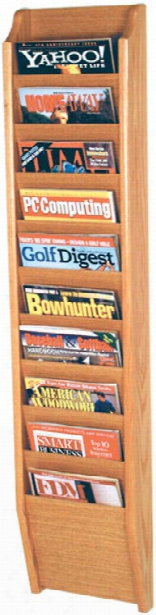 10 Pocket Oak Magazine Wall Rack By Wooden Mallet