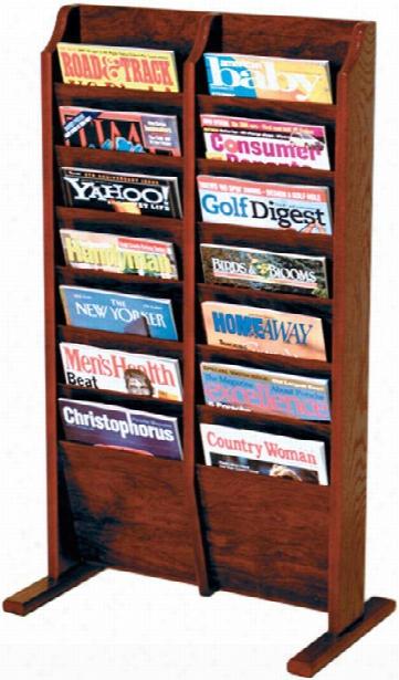 14 Pocket Oak Magazine Floor Rack By Wooden Mallet