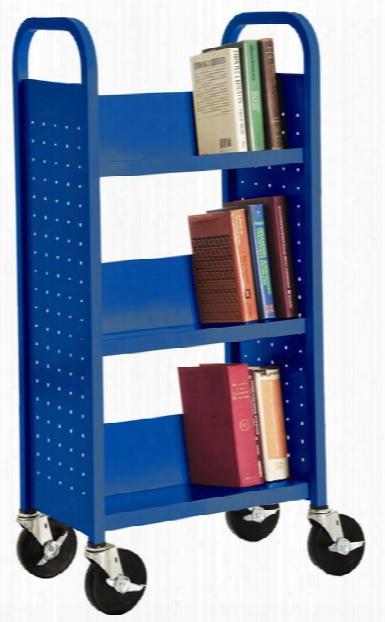 """17""""w Single Sided Sloped Shelf Booktruck By Sandusky Lee"""