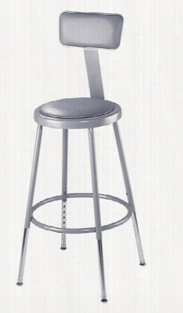 "18""h Padded Stool With Backrest By National Public Seating"