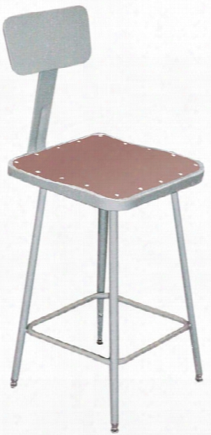 """18""""h Square Stool With Backrest By National Public Seating"""