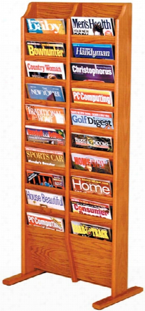 20 Pocket Oak Magazine Floor Rack By Wooden Mallet