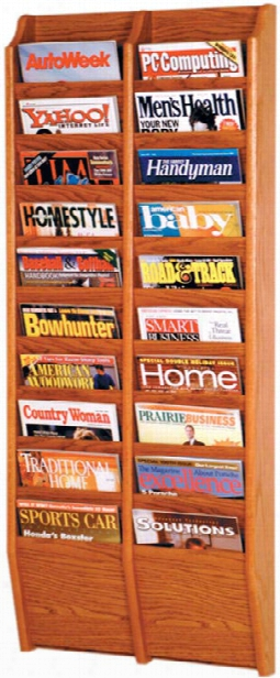 20 Pocket Oak Magazine Wall Rack By Wooden Mallet