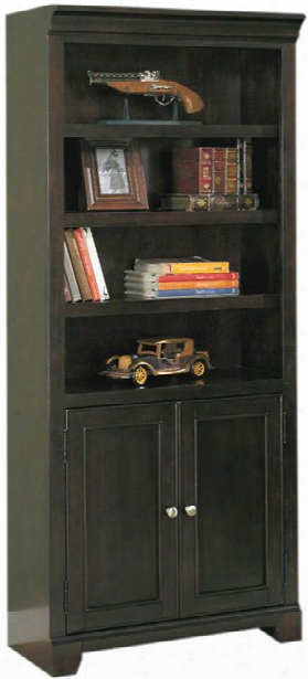 "32""w X 15""d X 75""h Solid Wood Bookcase With Doors By Wilshire Furniture"