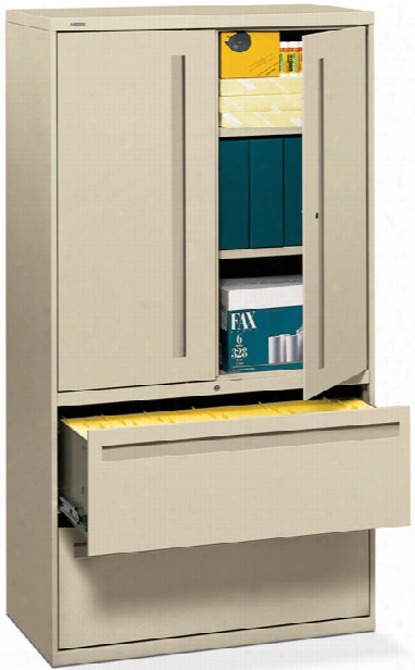 "36""w 2 Drawer Lateral File With Binder Storage By Hon"