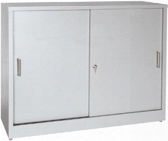 "36""w X 18""d X 29""h Sliding Door Storage Cabinet By Sandusky Lee"