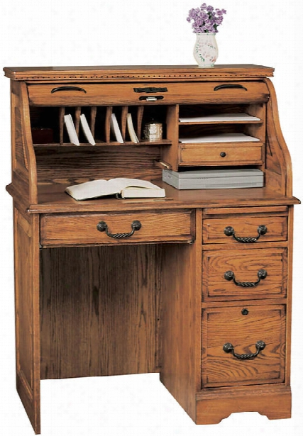 "36""w X 23""d X 46""h Solid Wood Roll Top Desk By Wilshire Furniture"