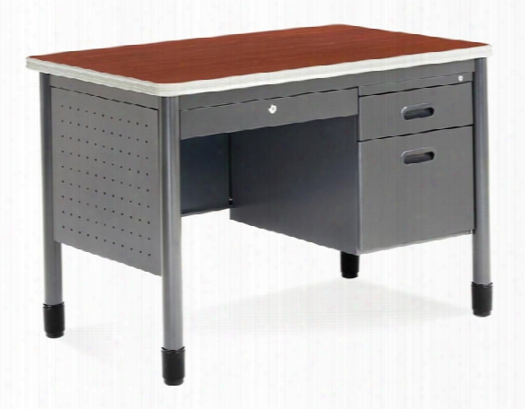 "42"" Single Pedestal Steel Desk By Ofm"