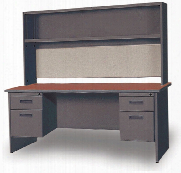 "60"" Double Pedestal Steel Desk With Hutch By Marvel"
