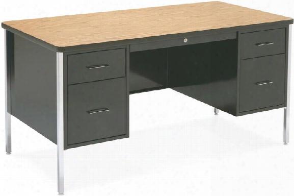 """60"""" X 30"""" Double Pedestal Steel Desk By Virco"""