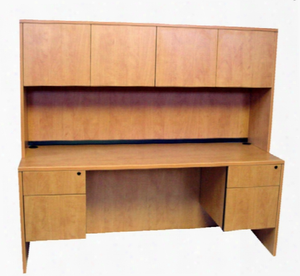 "66"" Duoble Pedestal Credenza With Hutch By Marquis"