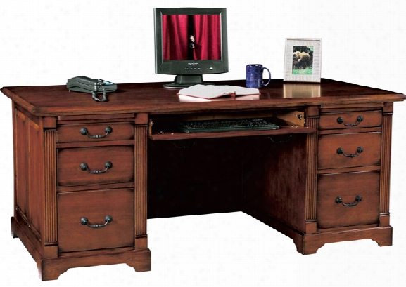"72.5""w X 35.5""d X 31""h Solid Wood Executive Desk By Wilshire Furniture"