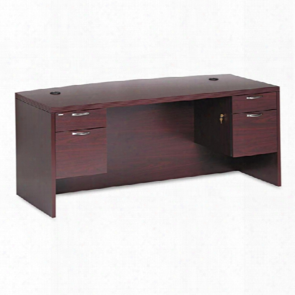 "72"" Bow Front Double Pedestal Desk By Hon"