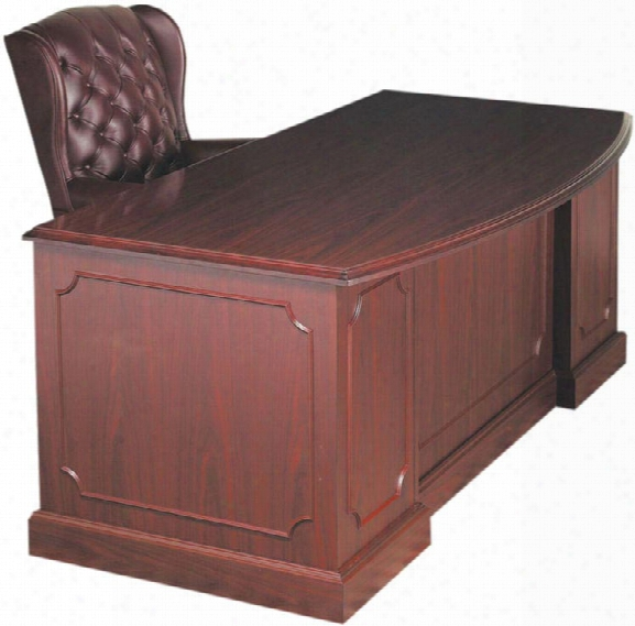 "72"" Double Pedestal Bow Front Desk By High Point Furniture"
