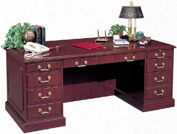 "72"" Double Pedestal Desk By High Point Furniture"