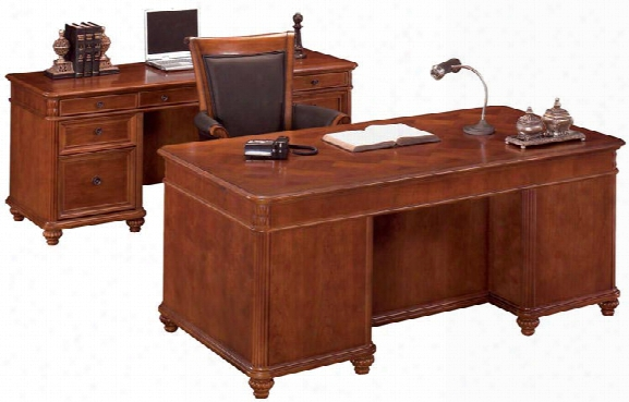 Double Pedestal Executive Desk And Credenza By Dmi Office Furniture