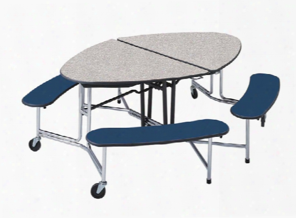 Elliptical Shaped Portable Cafeteria Table By Mitchell