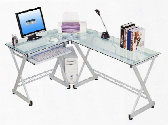 Glass L Shaped Computer Desk By Techni Mobili