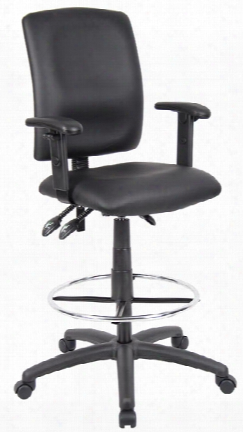 Leather Plus Drafting Stool With Adjustable Arms By Boss Office Chairs