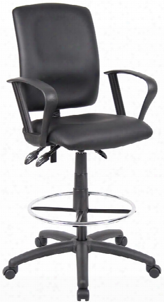 Leather Plus Drafting Stool With Loop Arms By Boss Office Chairs
