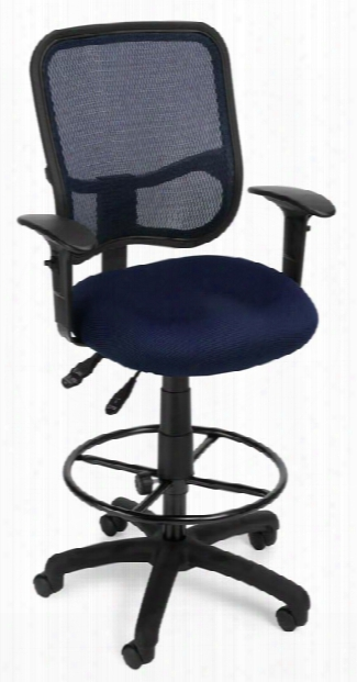 Modern Mesh Ergonomic Task Stool With Arms By Ofm