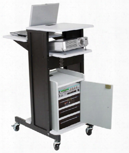 Presentation Cart With Locking Cabinet By Balt