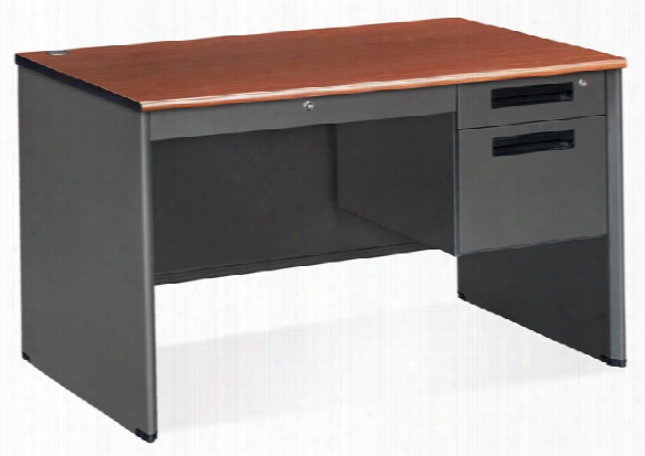 Single Pedestal Executive Steel Desk By Ofm