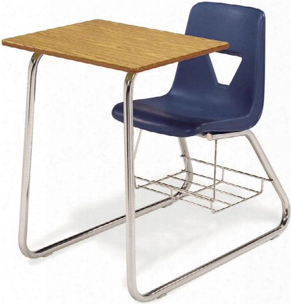 Sled Base Chair Desk With Bookrack By Virco