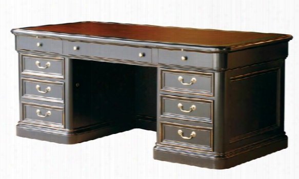 Solid Wood Executive Desk With Leather Top By Hekman Furniture