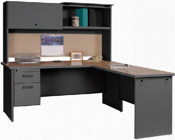 Steel L Shaped Desk With Hutch By Marvel