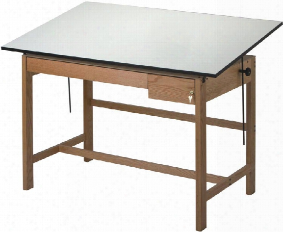"""Titan Ii 60"""" Solid Oak Drafting Table With Drawers By Alvin"""
