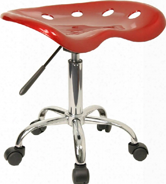 Vibrant Wine Red Teactor Seat And Chrome Stool By Innovations Office Furniture