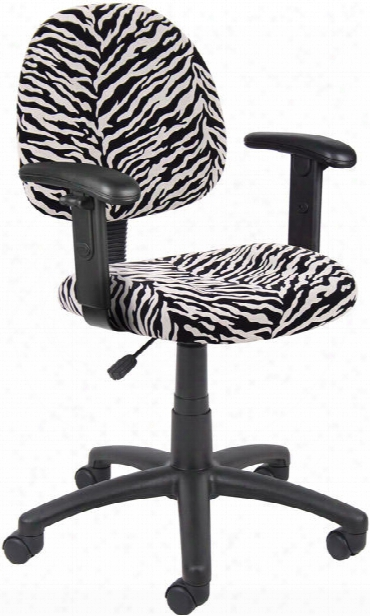 Zebra Print Task Chair With Adjustable Arms By Boss Office Chairs