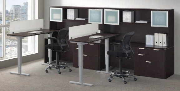 2 Person Workstation With Adjustable Height Desks By Office Source