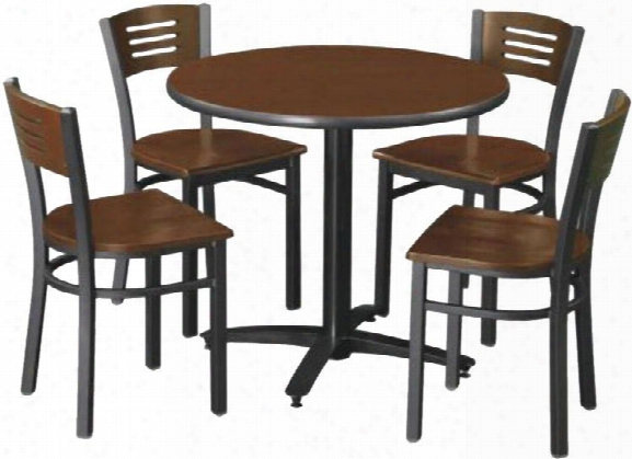 "36"" Round Table With 4 Chairs By Kfi Seating"