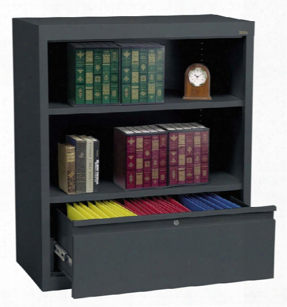 "36""w X 18""d X 42""h Bookcase With File Drawer By Sandusky Lee"