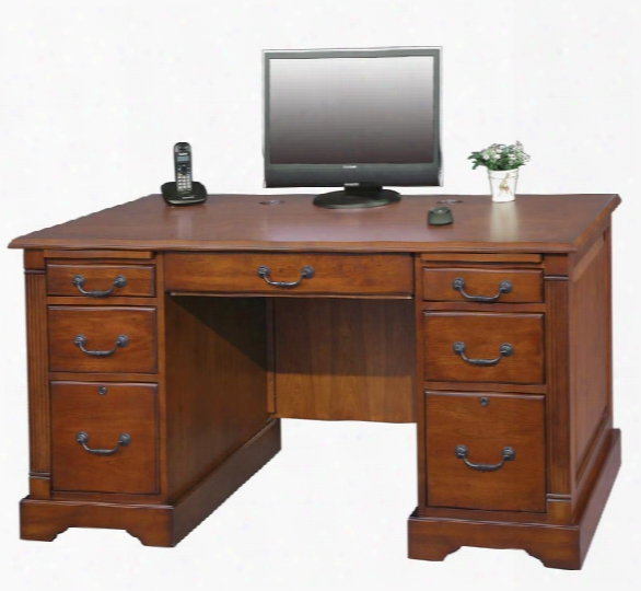 "57""w X 29""d X 30.5""h Wood Executive Desk By Wilshire Furniture"