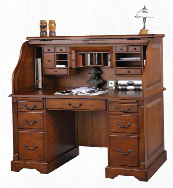 """57""""w X 29""""d X 53""""h Wood Rolltop Desk By Wilshire Furniture"""