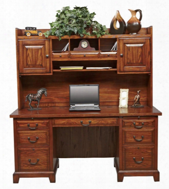 """66""""w X 27""""d X 68.5""""h Flat Top Desk With Hutch By Wilshire Furniture"""